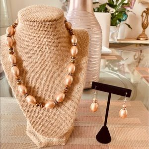 Rose Gold Faux Pearl Necklace Set